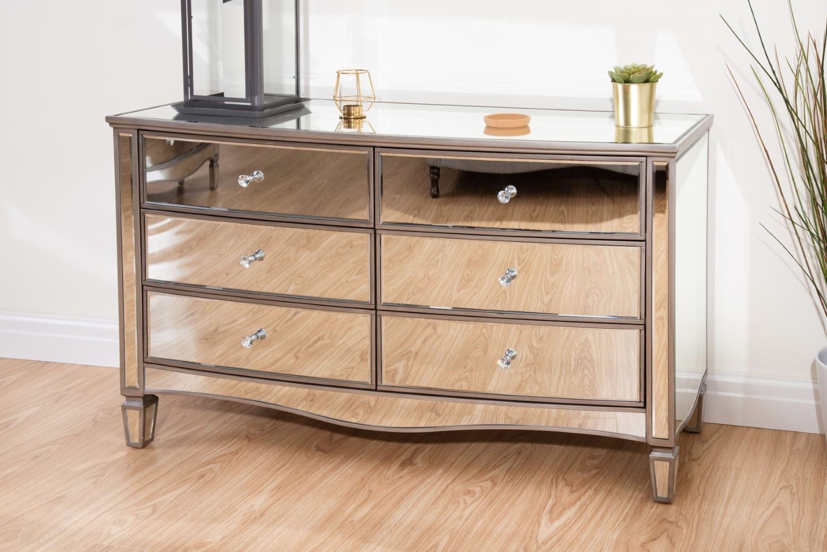 Birlea Elysee Mirrored 6 Drawer Large Mirror Furniture Chest Crystal Handle