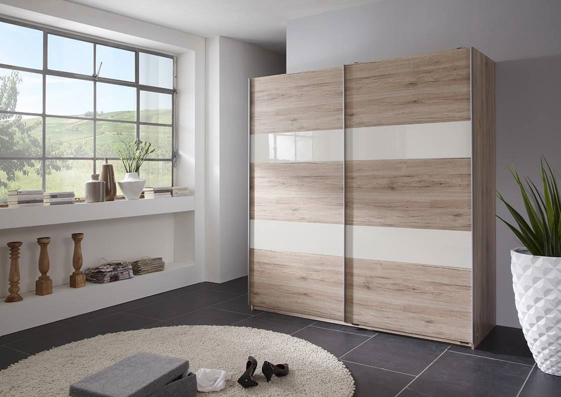 German Chess Remo Oak White 2 Door 180cm Sliding Slider Door Wardrobe