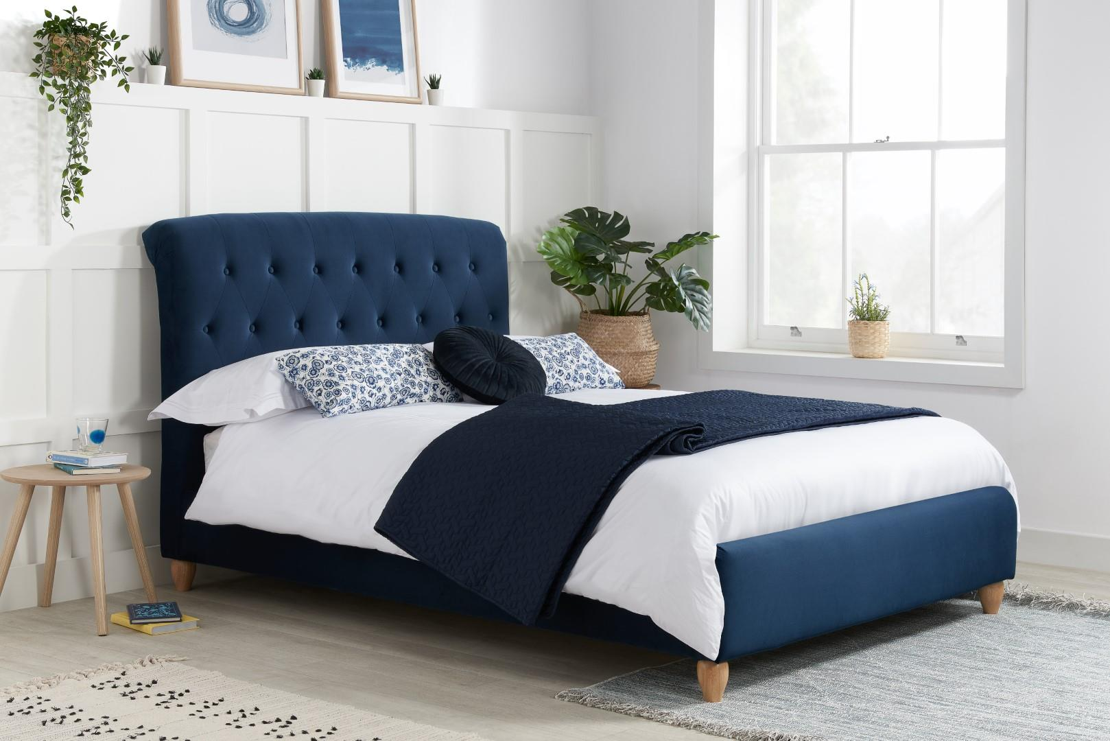 Brompton Upholstered Headboard Bed Frame 120cm 4FT Blue Wood Fabric Small Double