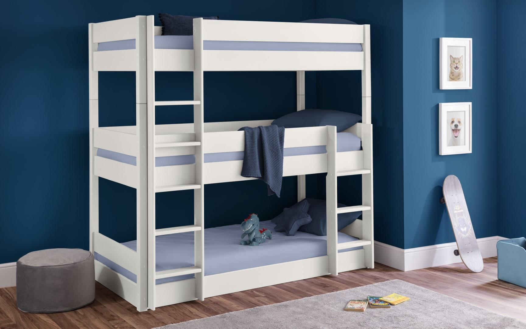 Julian Bowen Trio Triple Stacker Bunk Bed Frame White Wood 3FT Single 3 Sleeper