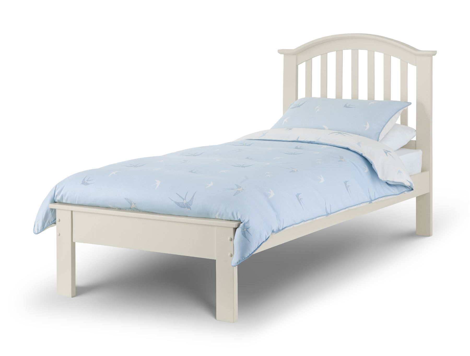 Julian Bowen Olivia Wood Bed Frame Stone White 90cm Single 3FT Bedstead