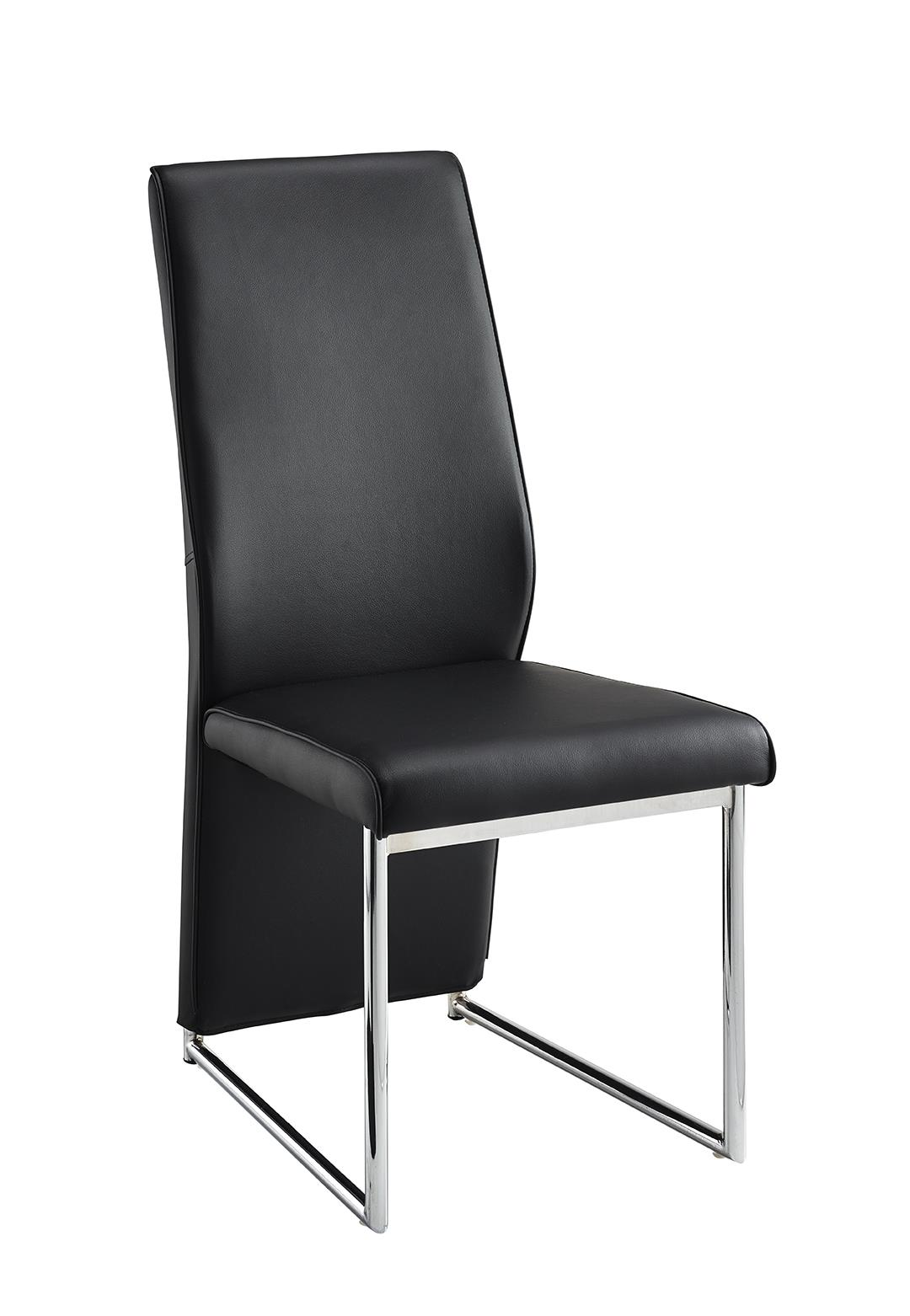 Set of 4x IFC Franco Dining Kitchen Chairs Black Faux Leather Chrome