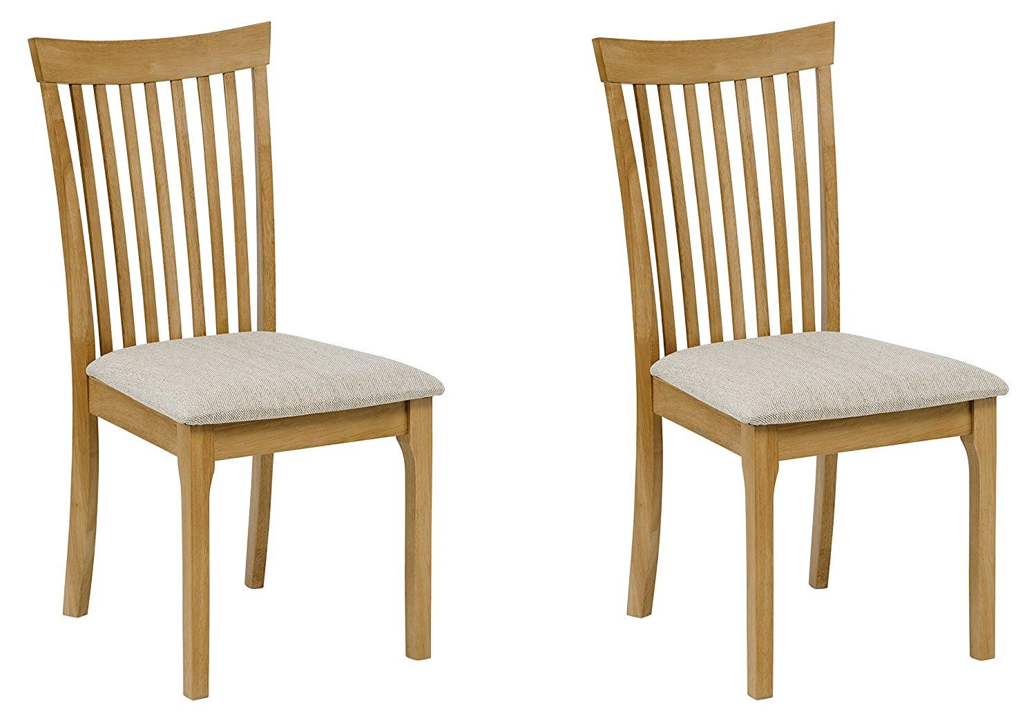 Julian Bowen Ibsen Light Oak Solid Wood Set Of Two Dining Chairs Fabric Seats