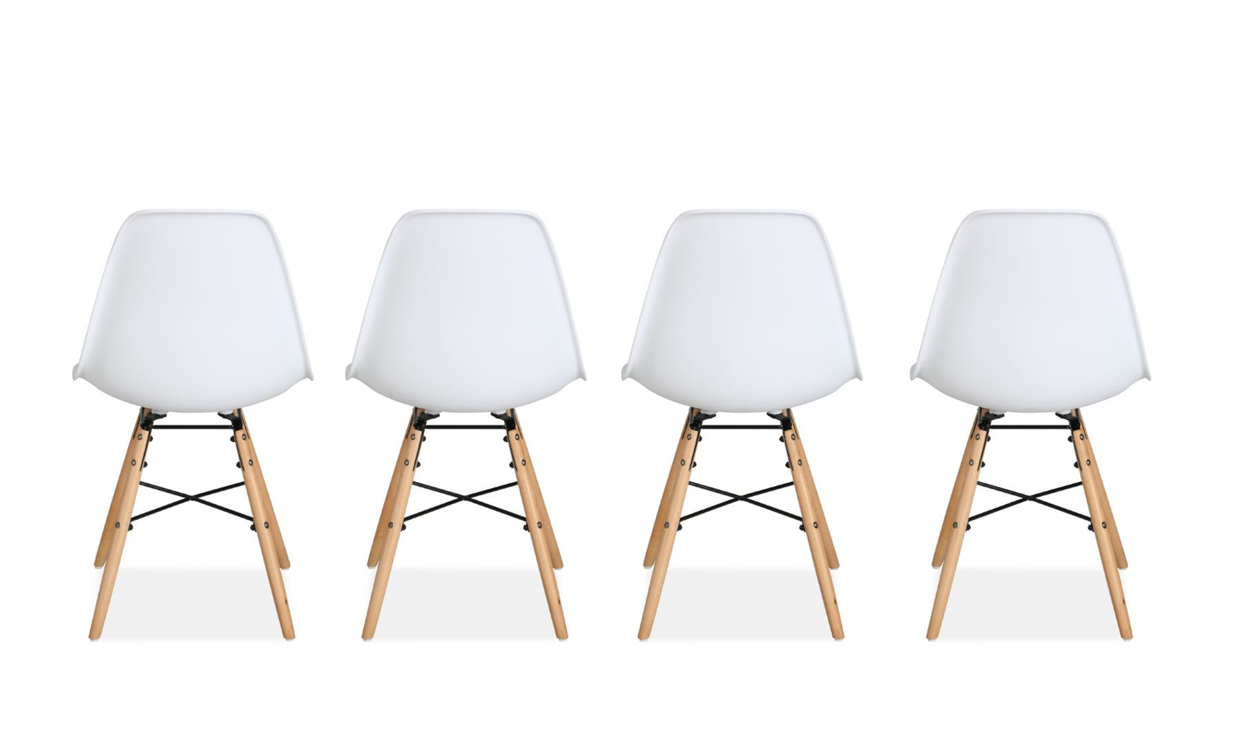 Birlea Hex 4 White Dining Chair Scandinavian Modern Retro Design Pair Wood