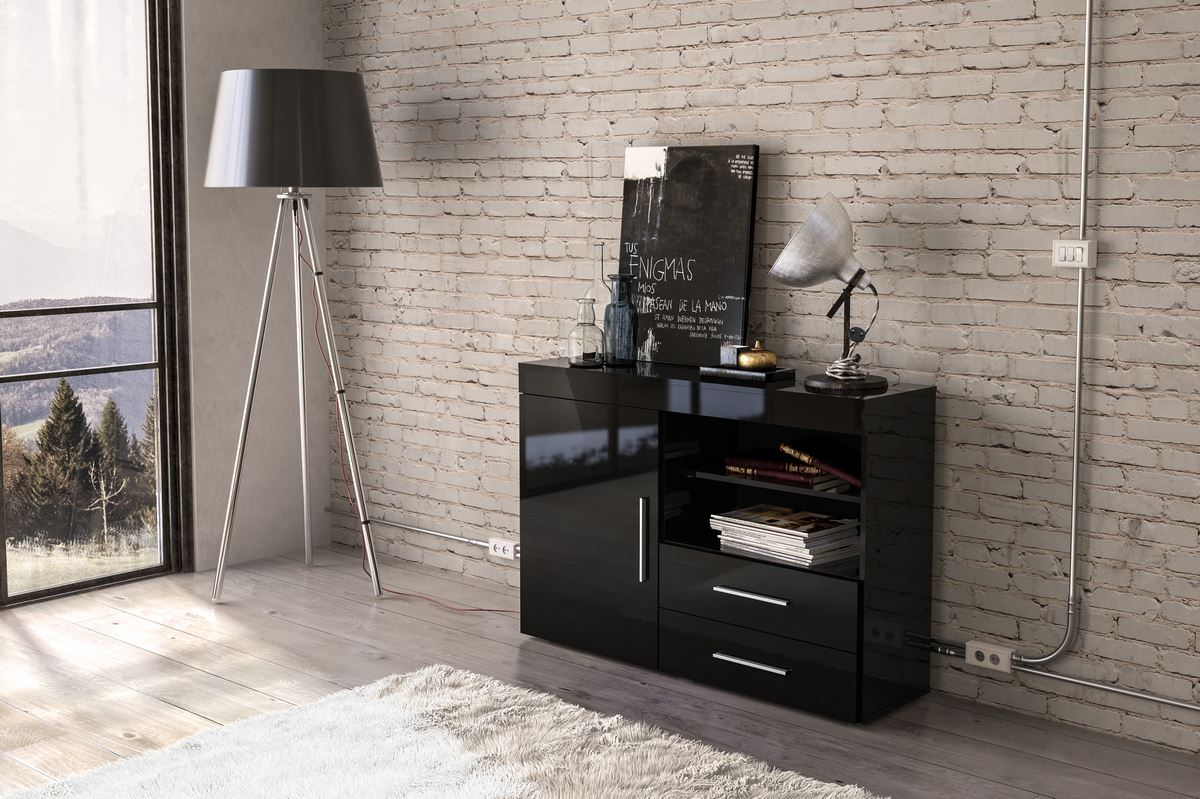 Birlea Edgeware Small Sideboard TV Entertainment Unit Stand Black Gloss