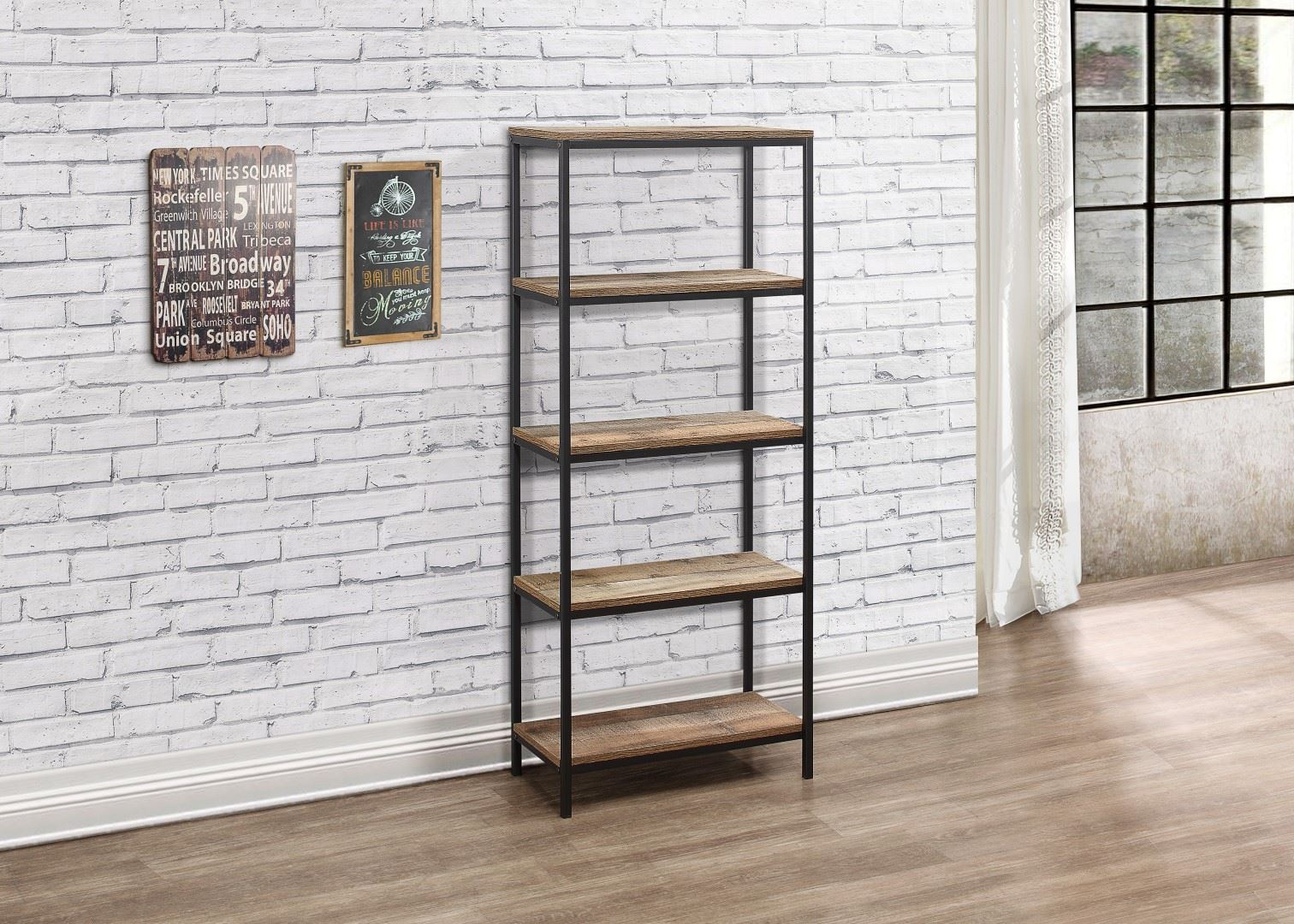 Birlea Urban Industrial Chic 5 Tier Shelving Unit Bookcase Shelves Wood Metal