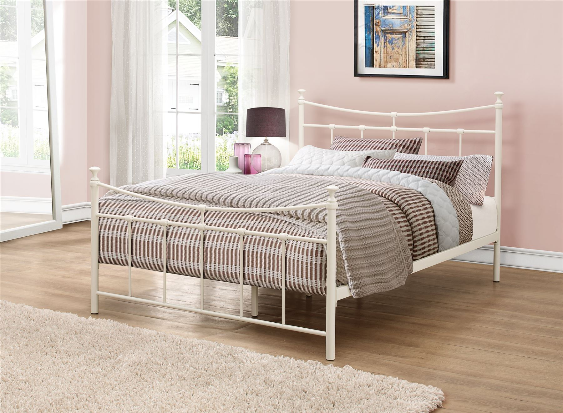 Emily 135cm 4FT6 Double Cream Ivory Metal Bed Frame Bedstead Sprung Base