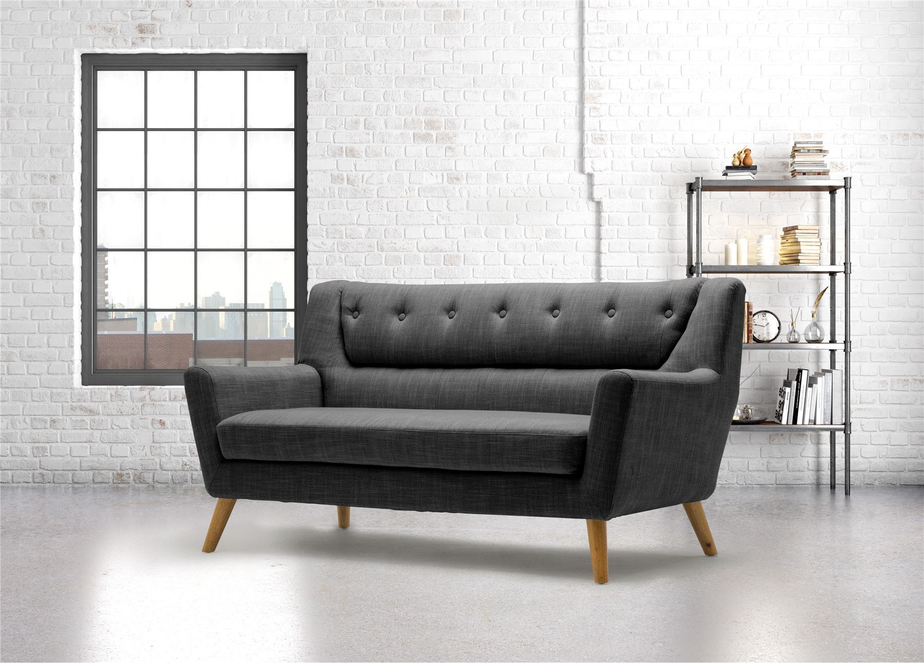 Birlea Lambeth 3 Seater Grey Large Sofa Settee Scandinavian Modern Retro