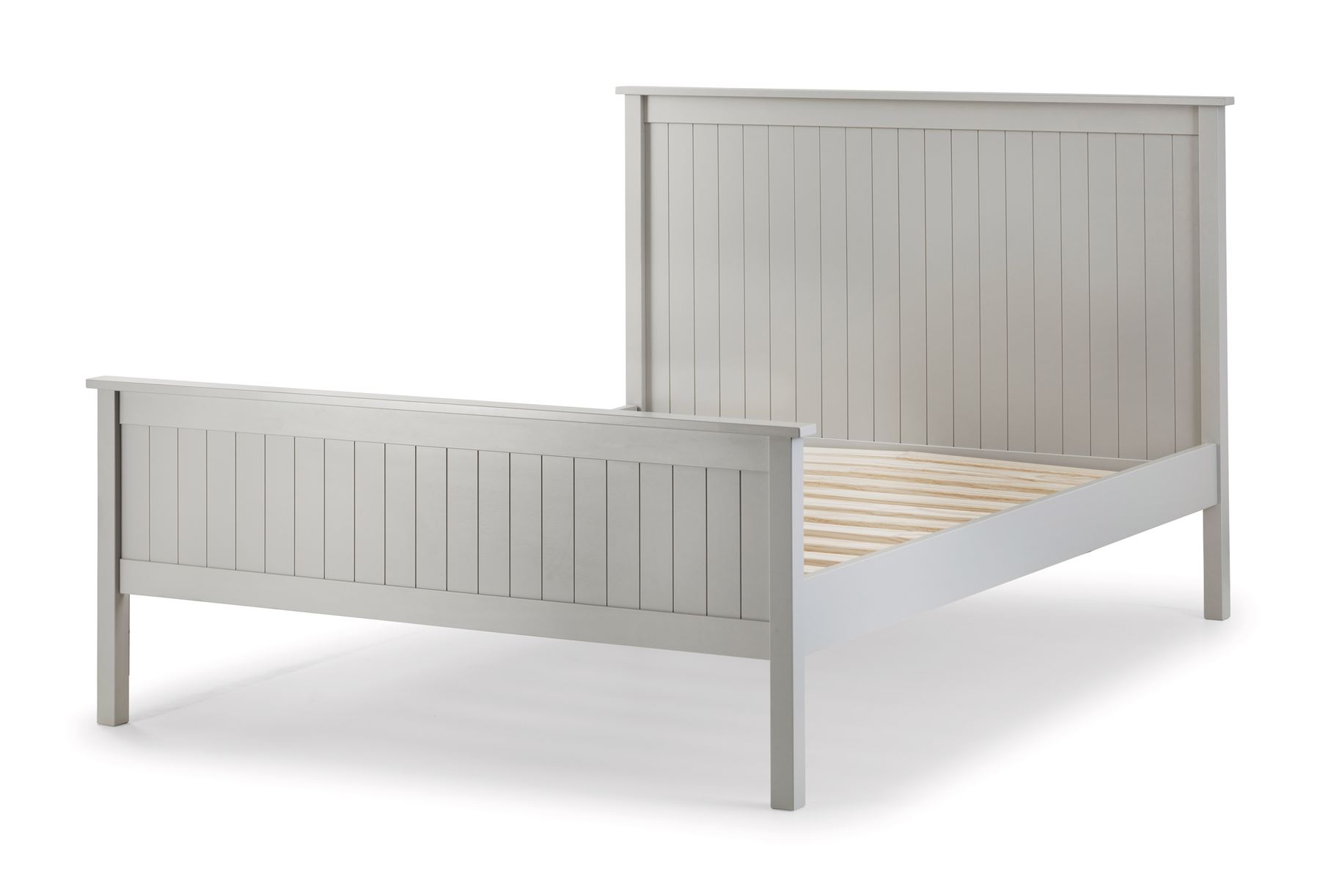 Julian Bowen Maine New England Shaker Style Grey Double Bed Frame 4FT6 135cm