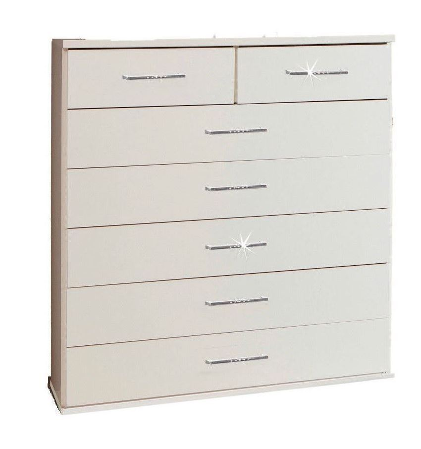 Bijoux German 5+2 Large Chest of Drawers White Crystal Rhinestone Bling