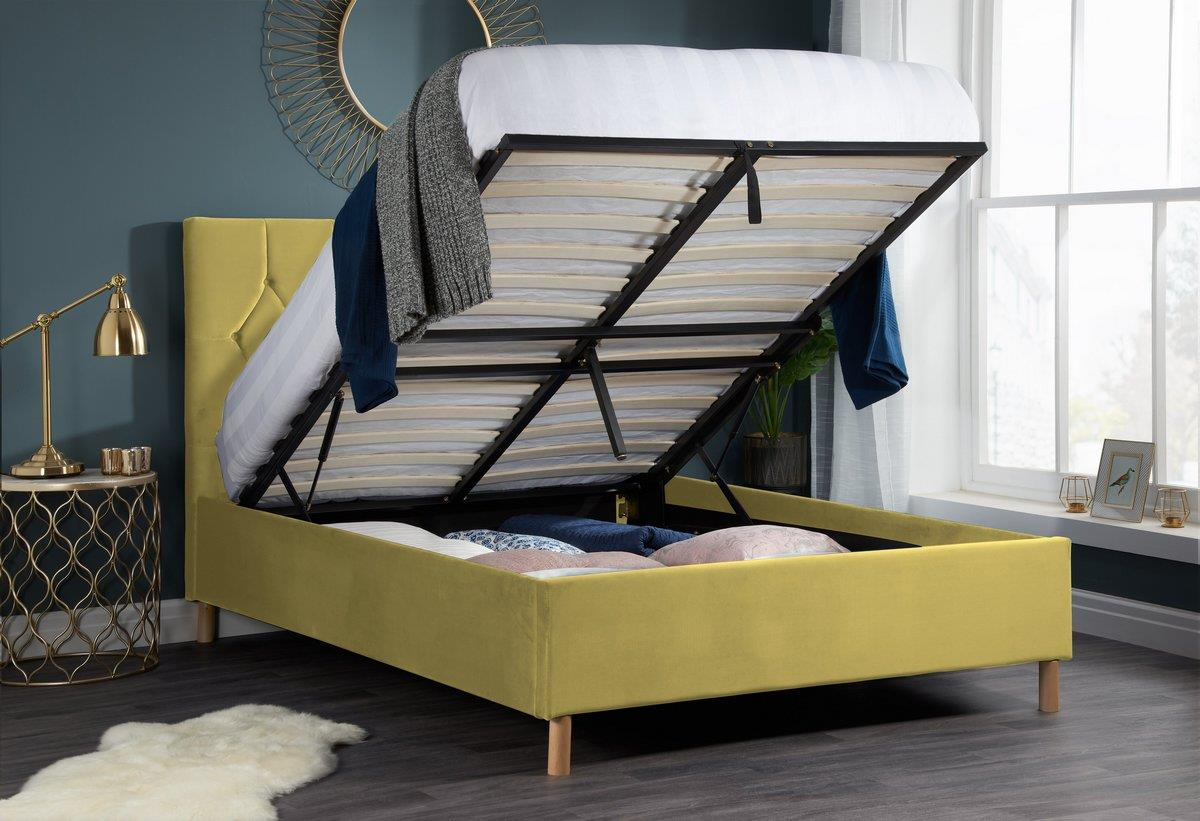 Birlea Loxley Ottoman Bed Frame 150cm Kingsize 5FT Mustard Fabric Storage