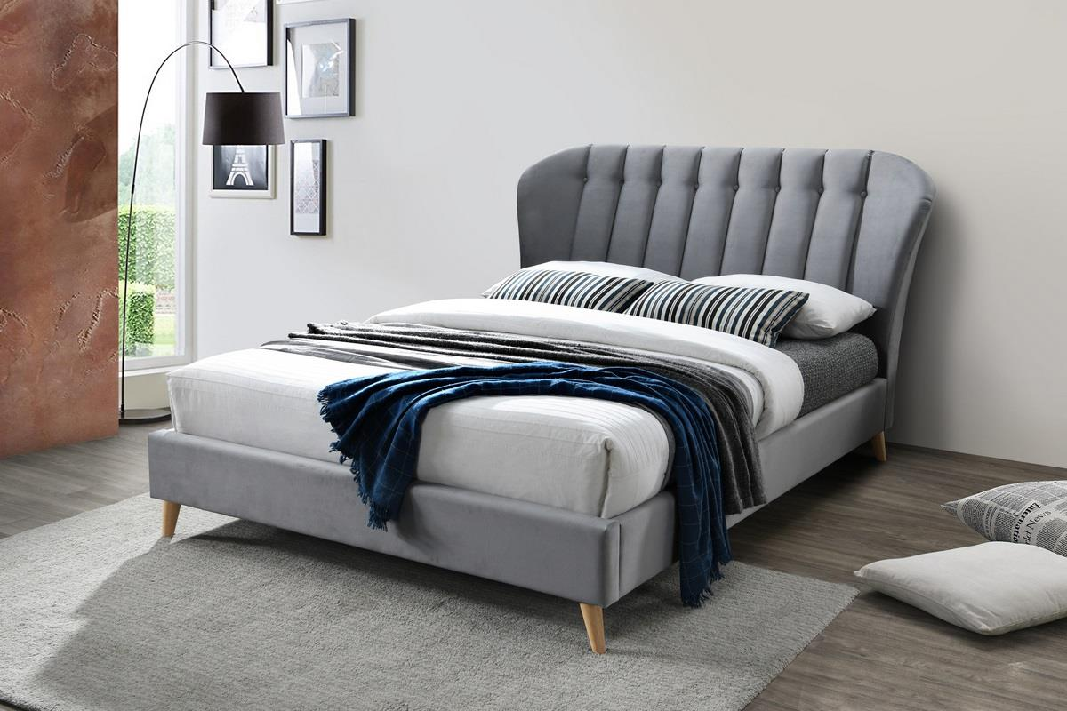 Birlea Elm Bed Frame 120cm Small Double 4FT Grey Velvet Fabric Bedstead