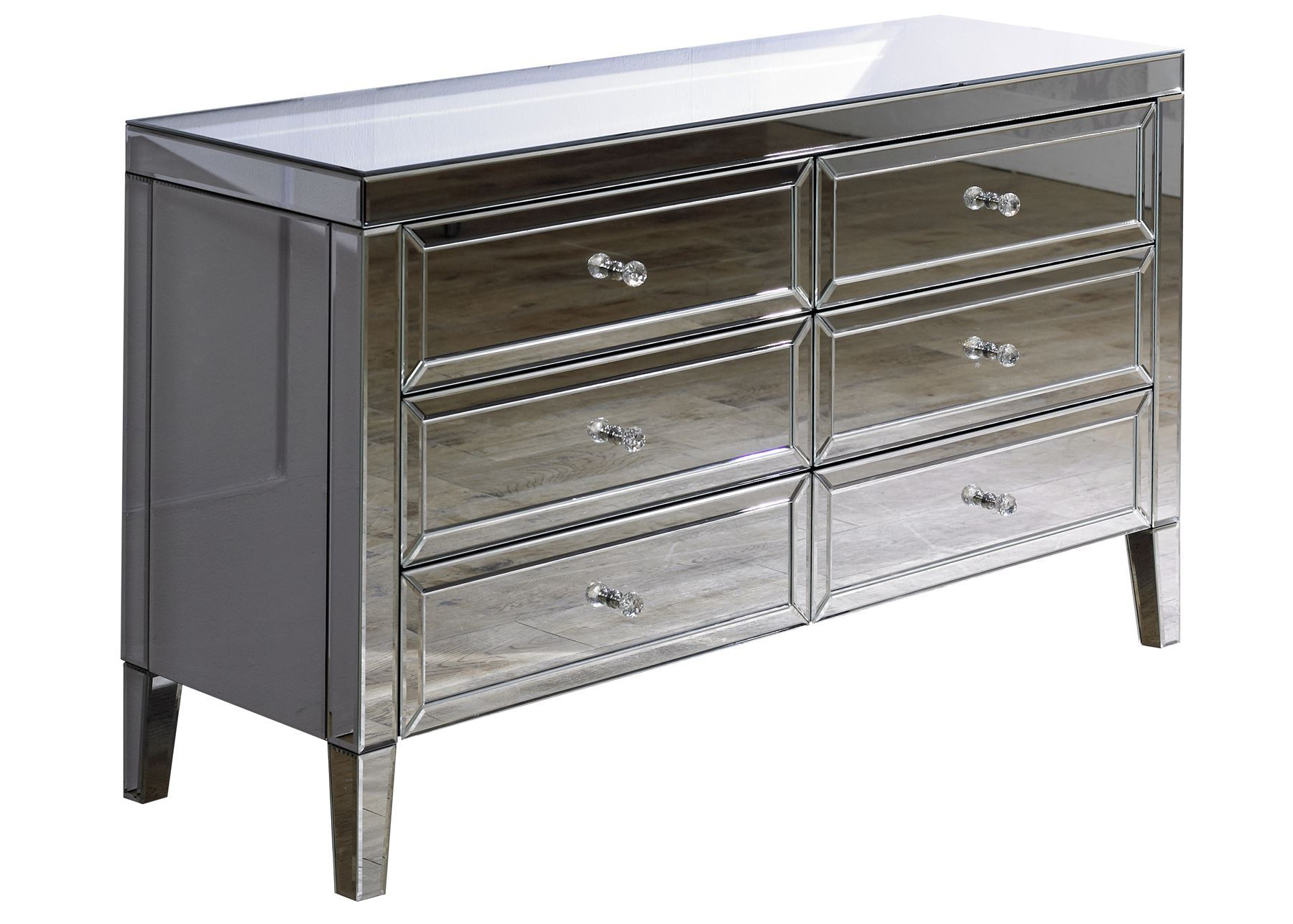 Birlea Valencia Mirrored 6 Drawer Bevelled Mirror Chest Crystal Handle