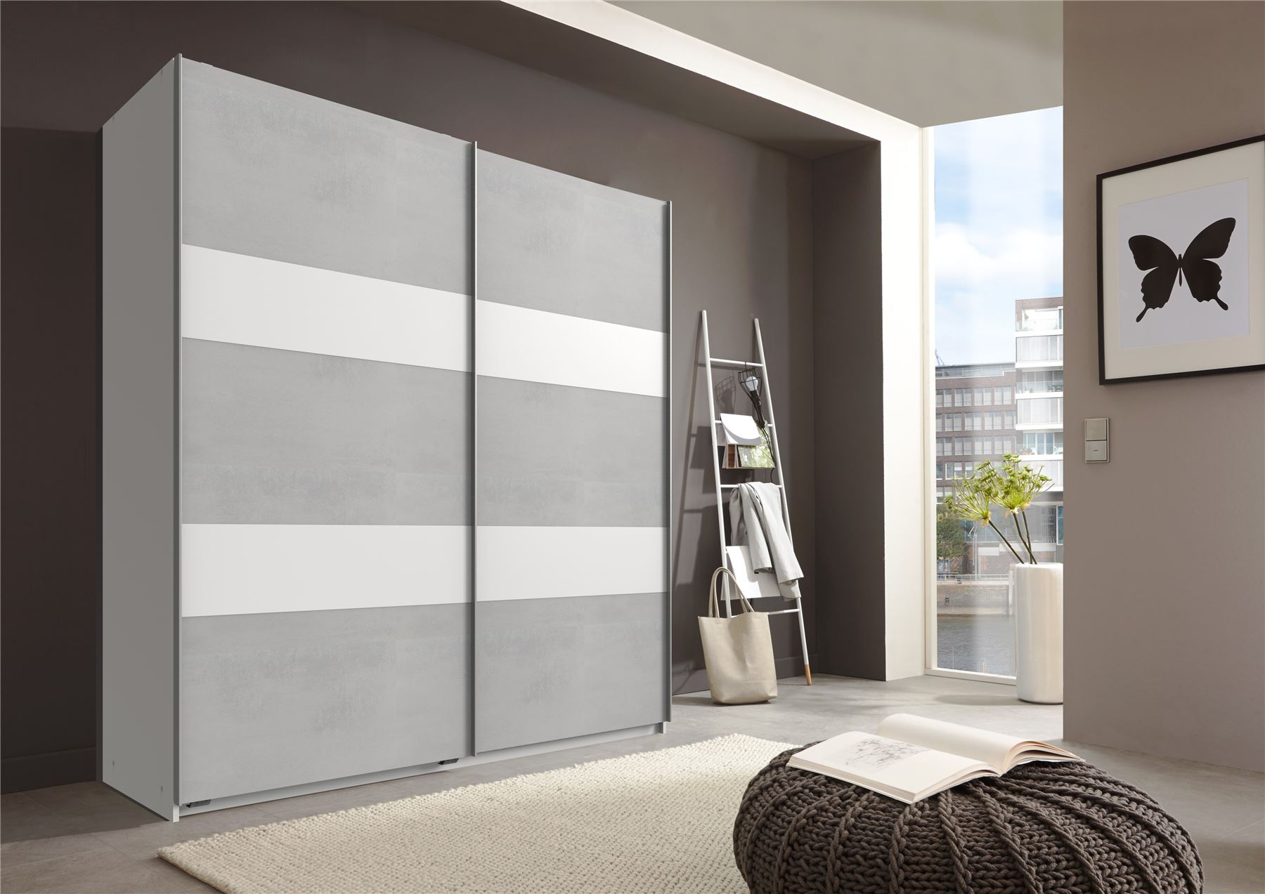 German Chess Concrete Grey & White 2 Door 180cm Sliding Slider Door Wardrobe
