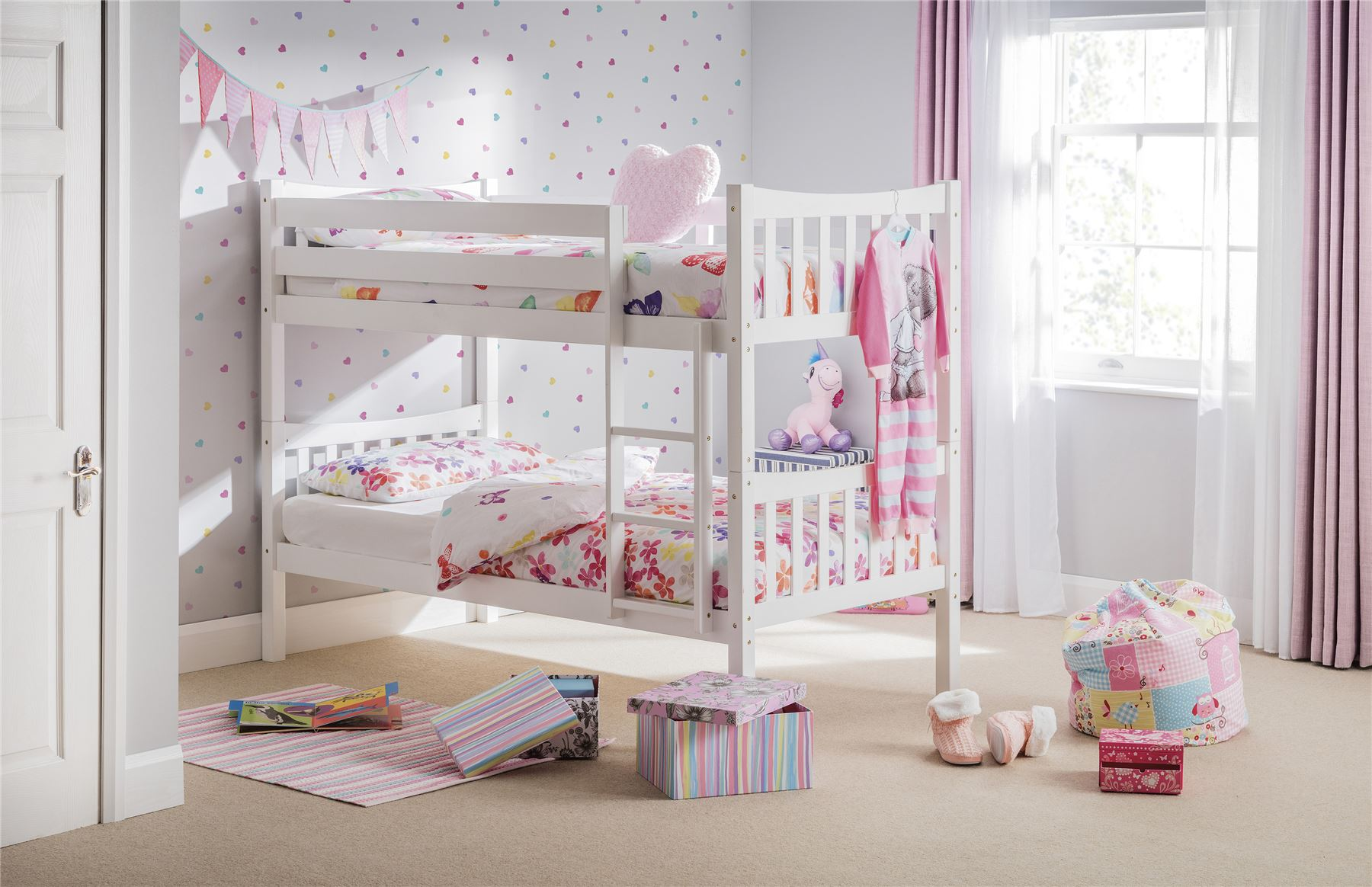 Julian Bowen Zodiac Bright Solid White Wooden Bunk Bed Single 90CM 3FT Wood