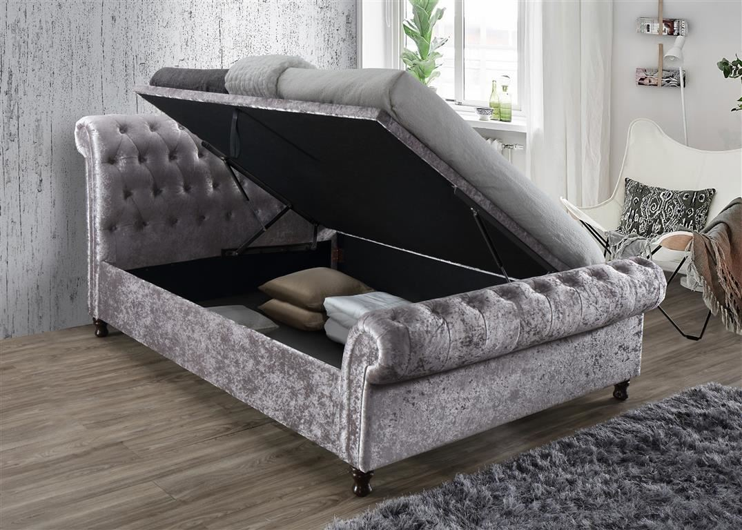 Castello Ottoman Storage Fabric 135cm 4FT6 Grey Crushed Velvet Double Bed Frame