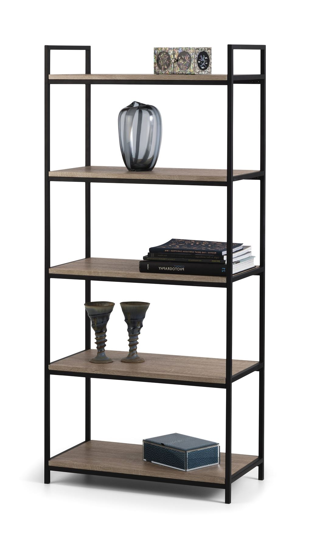 Julian Bowen Tribeca Black Metal & Oak Industrial Steel Tall Bookcase Shelves