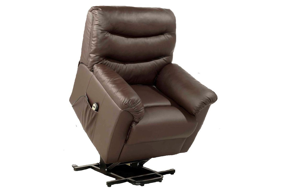 Birlea Regency Lift Rise Recline Electric Recliner Chair Faux Leather Brown