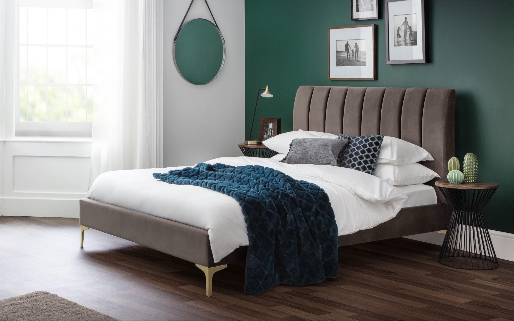 Julian Bowen Deco Contemporary Grey Velvet 5ft Kingsize Bed Frame 150cm Bedstead Www Robinsons Furniture