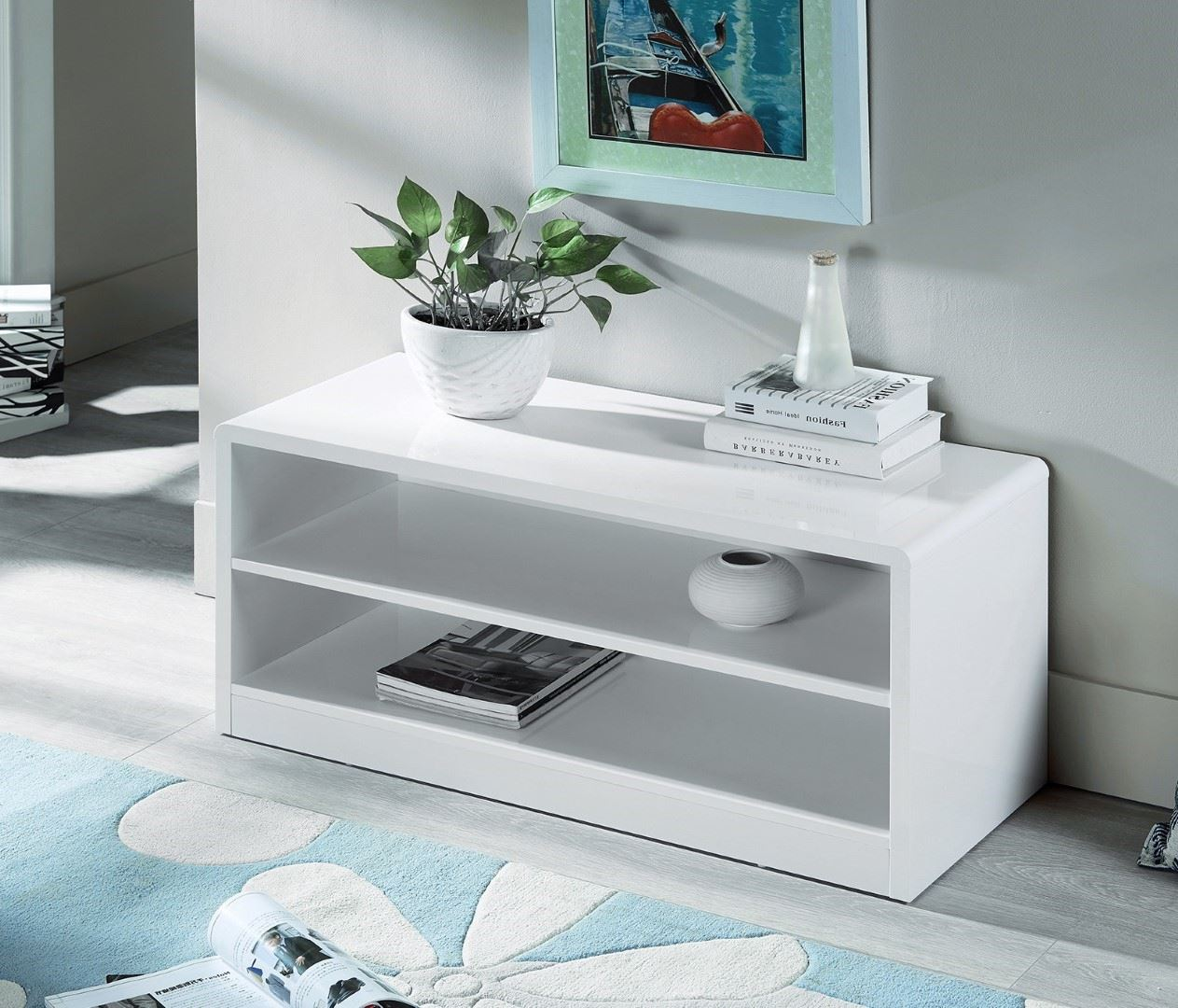 Julian Bowen Manhattan High Gloss White Compact TV Unit Stand Modern