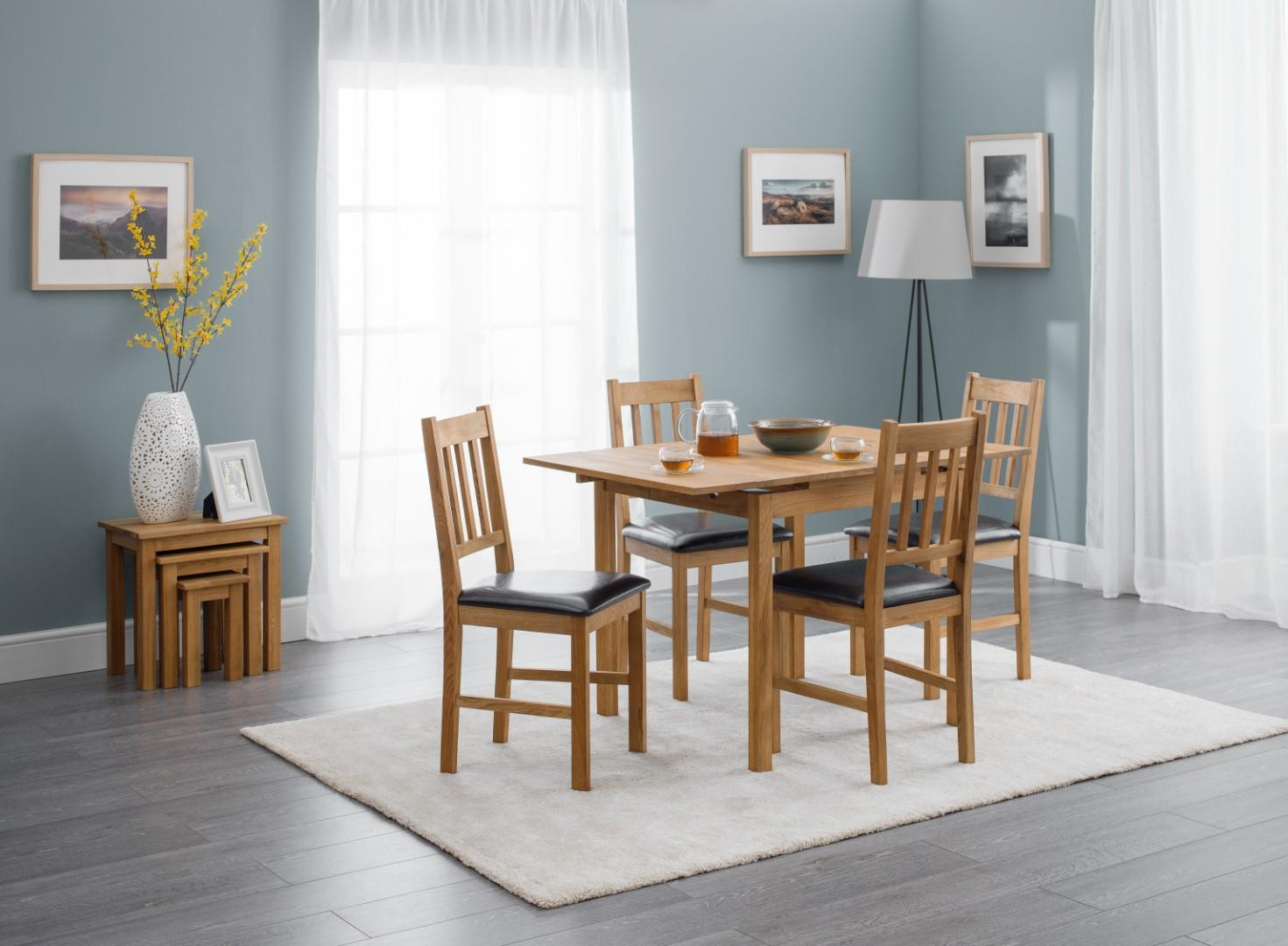 Julian Bowen Coxmoor Solid Oak Square Extending Dining Set Table 4 Chairs