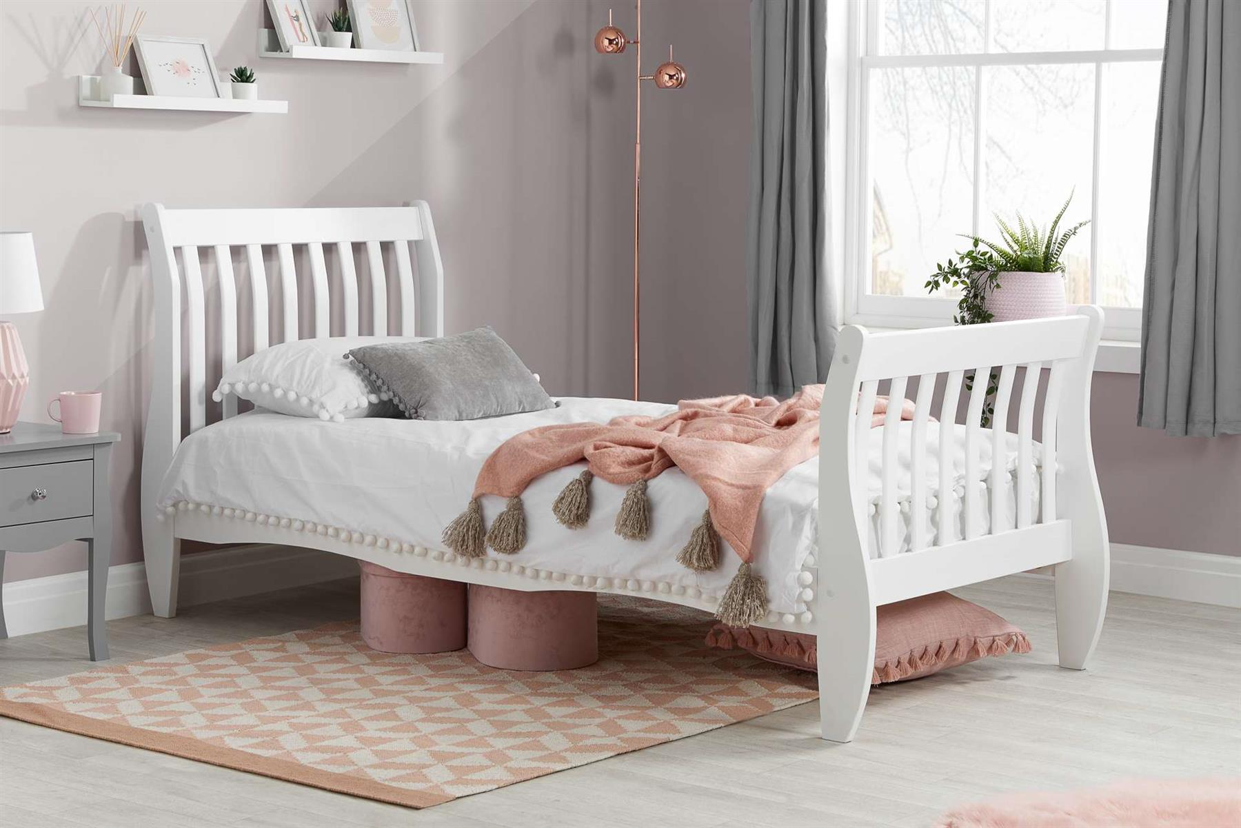 Birlea Belford Single 3FT Bed Frame 90cm White Wood Wooden Sleigh Solid Wood