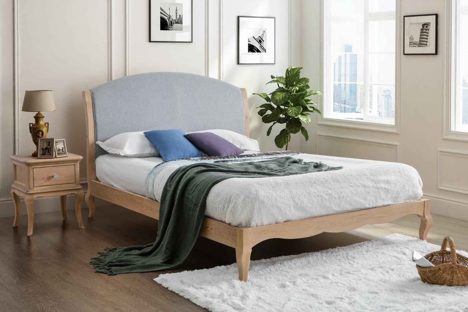 Birlea Ritz Solid Oak Wood Bed Frame Grey Fabric 4FT6 Double 135cm Bedstead