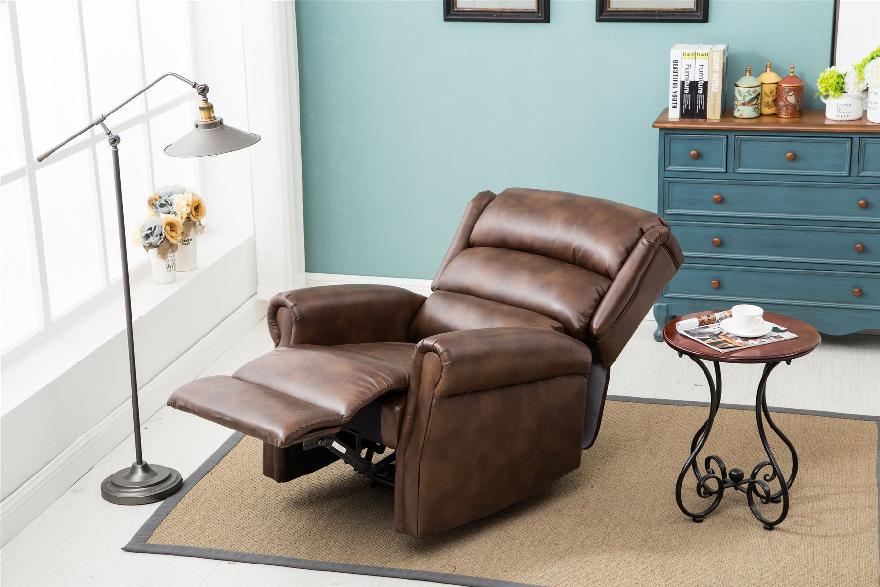 Birlea Manhattan Manual Recliner Arm Reclining Chair Brown Faux Leather