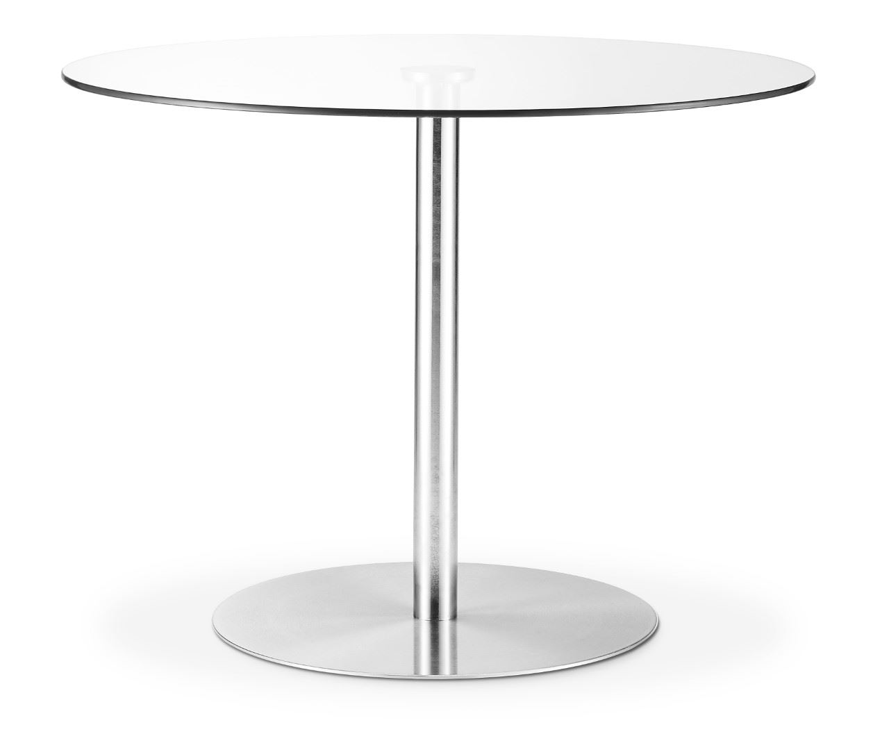 Julian Bowen Milan Round Pedestal Dining Table 100cm Glass & Brushed Steel base