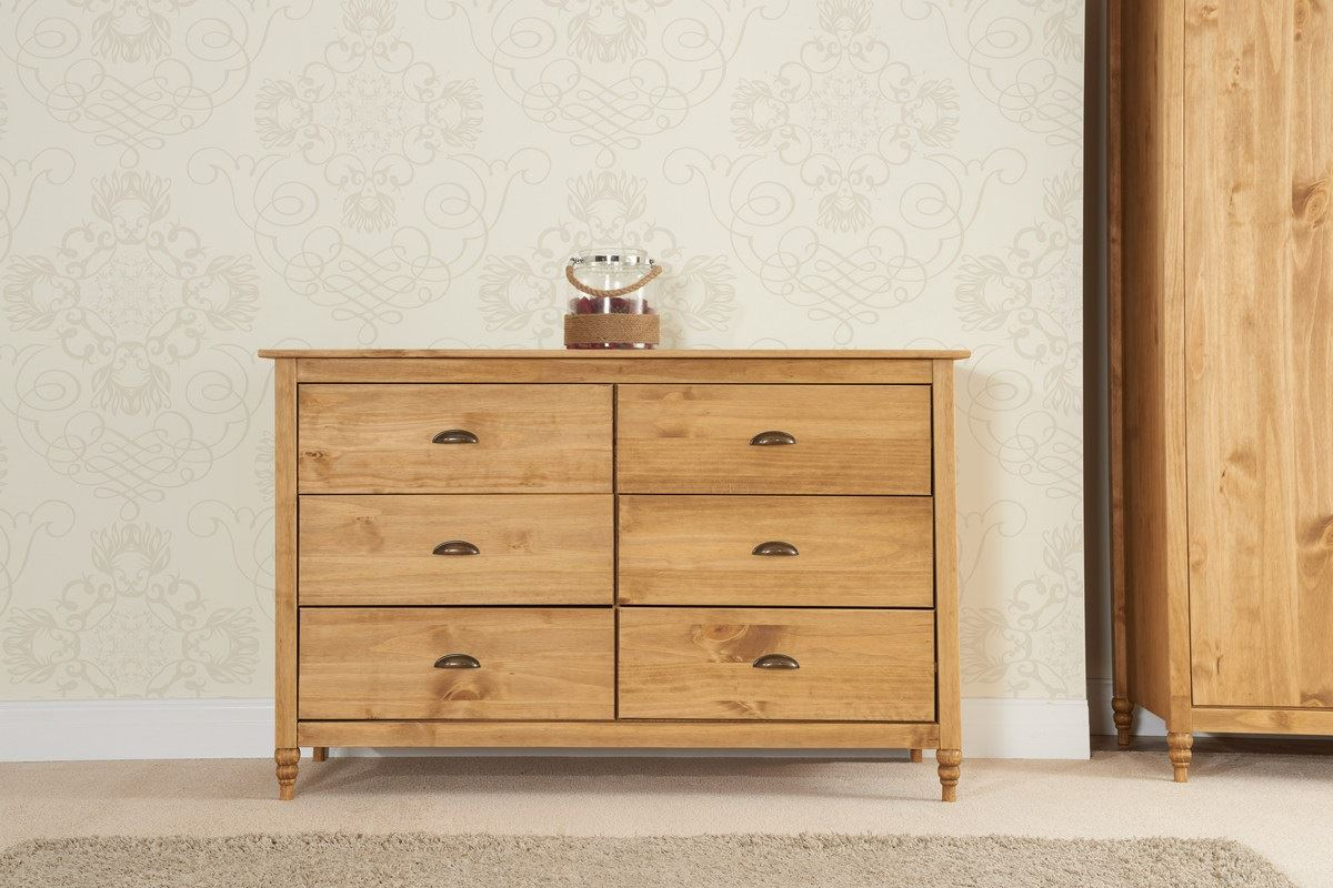 Birlea Pembroke 6 Drawer Chest Solid Wood Corona Mexican Waxed Pine