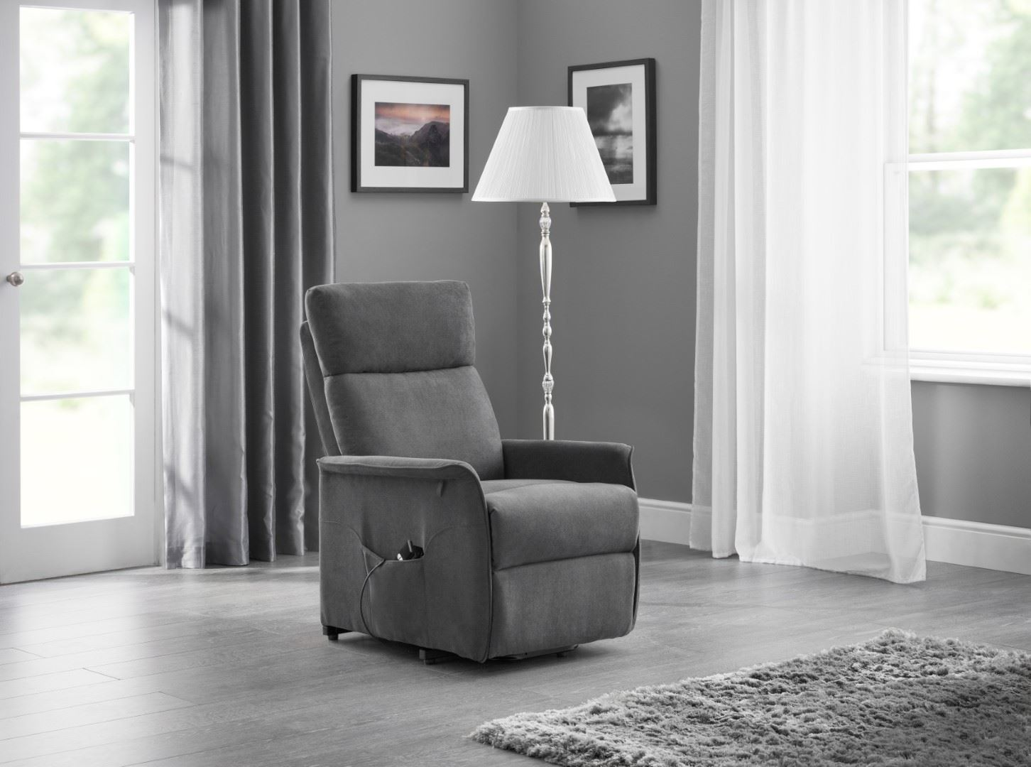 Julian Bowen Helena Rise & Recline Chair Grey Velvet Fabric Electric Recliner