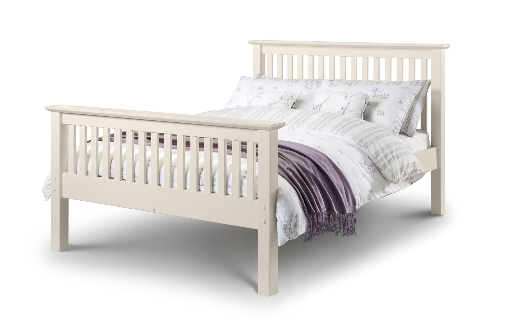 Julian Bowen Barcelona HFE Solid Wood Bed Frame 4FT6 Double 135cm Stone White