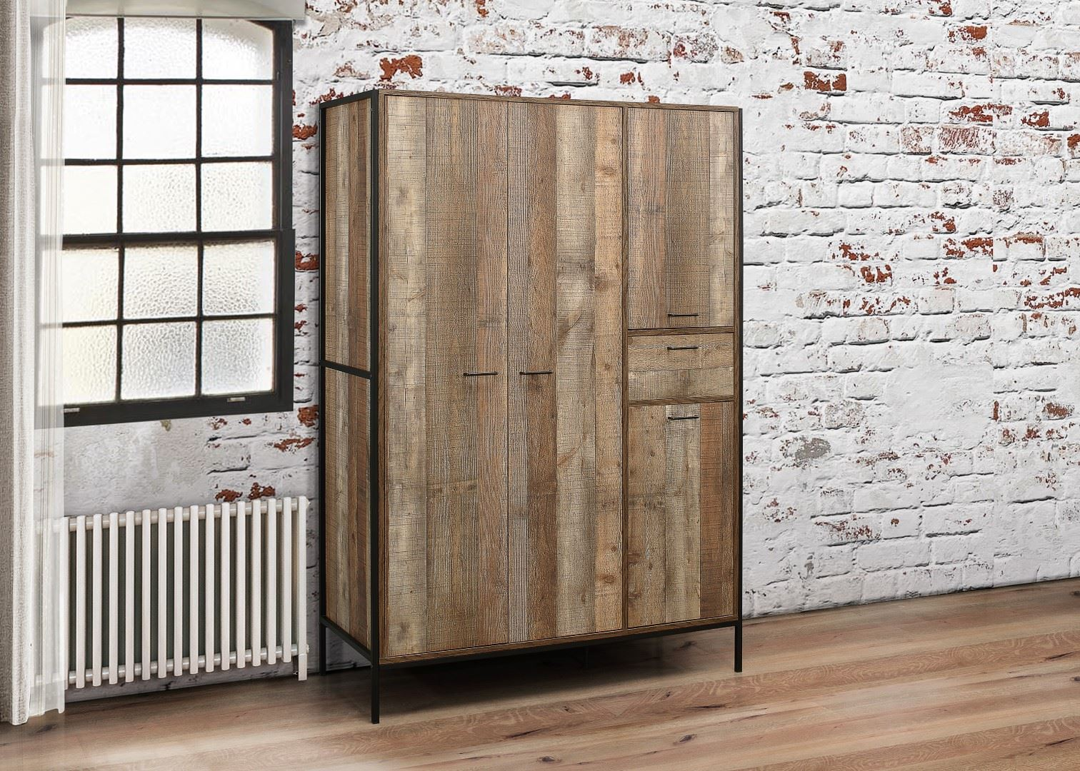 Birlea Urban Industrial Chic 4 Door Large Wardrobe with Drawer Wood Metal