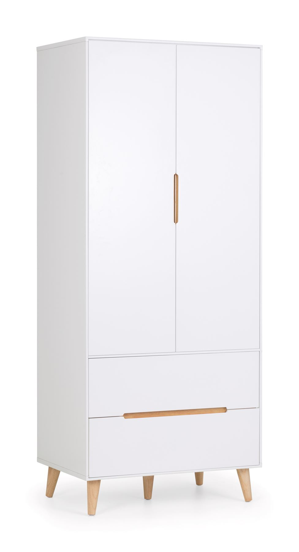 Julian Bowen Alicia 2 Door 2 Drawer Wardrobe Scandinavian Modern Retro White Oak