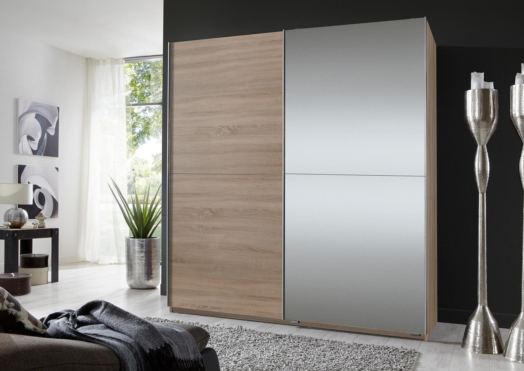 German 2 Door 180cm Sliding Slider Wardrobe Oak with Mirrors