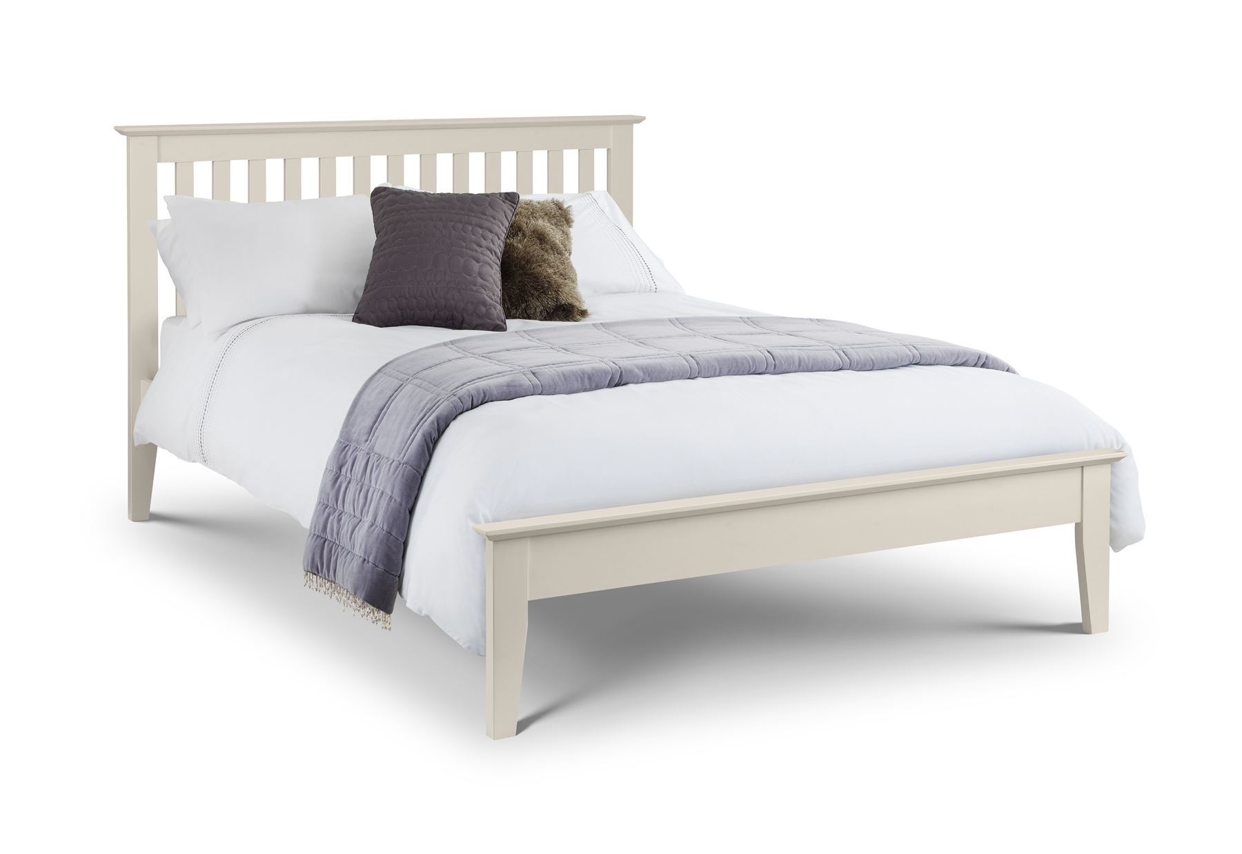 Julian Bowen Salerno Bed Frame Bedstead Stone White 150cm King Size 5FT
