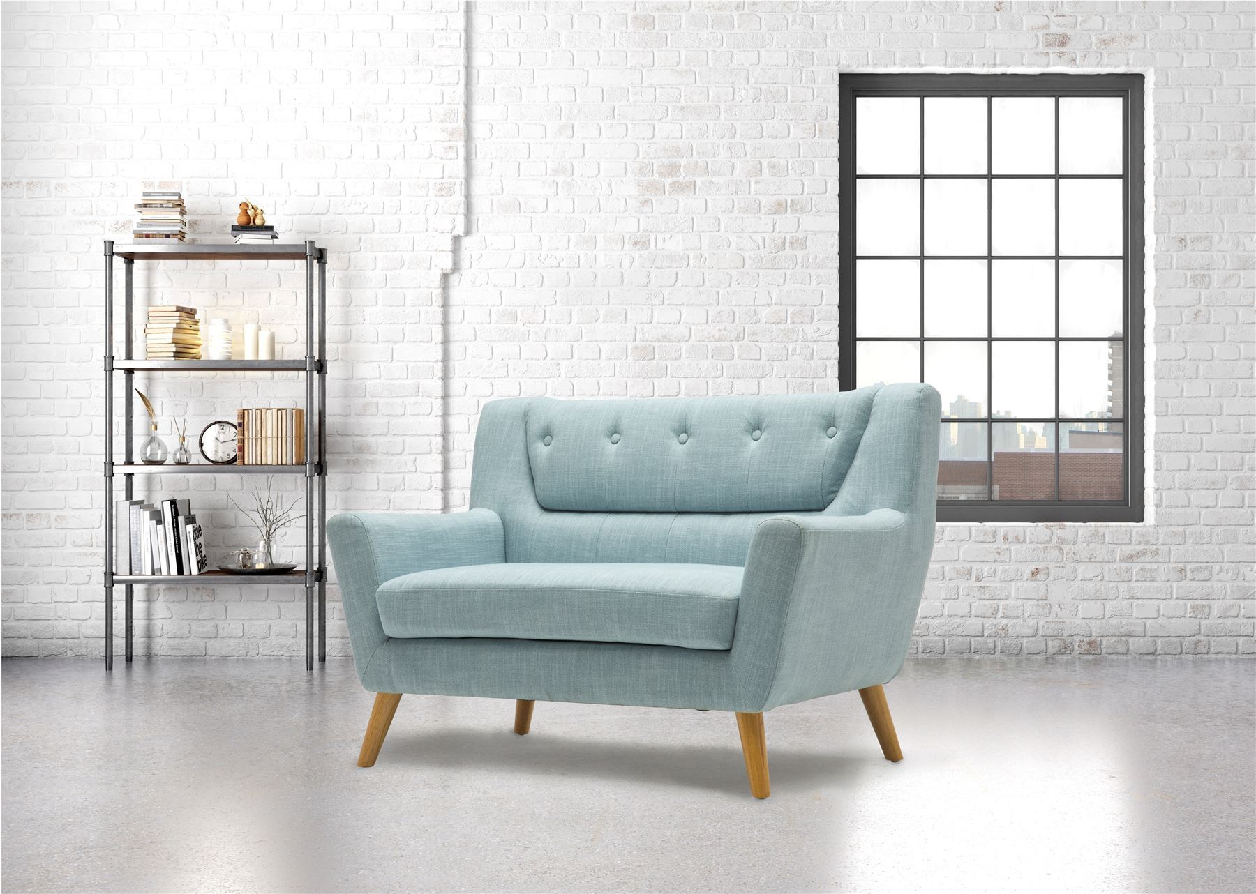 Birlea Lambeth 2 Seater Duck Egg Blue Medium Sofa Settee Scandinavian Retro
