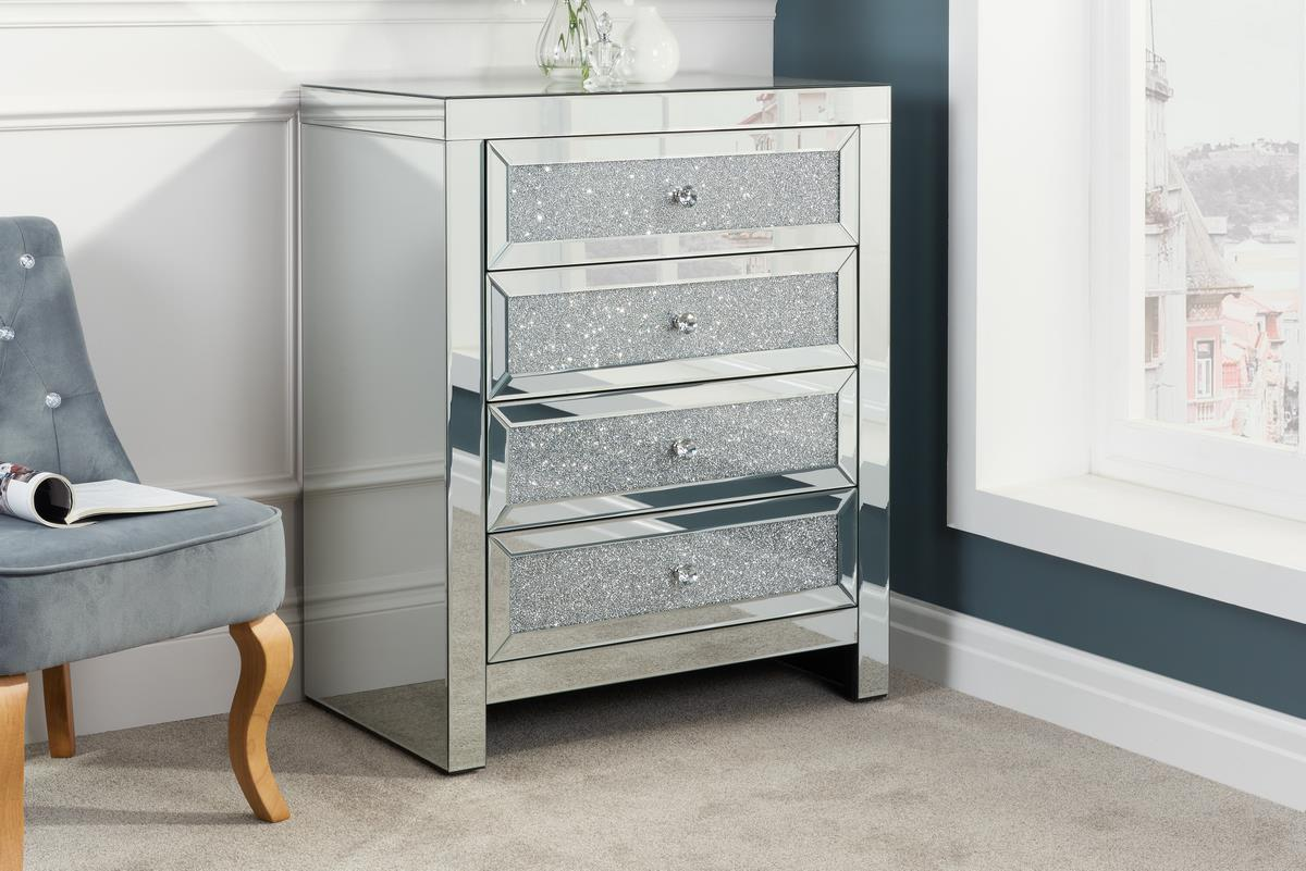Birlea Vienna Mirrored 4 Drawer Bevelled Mirror Chest Crystal Handle