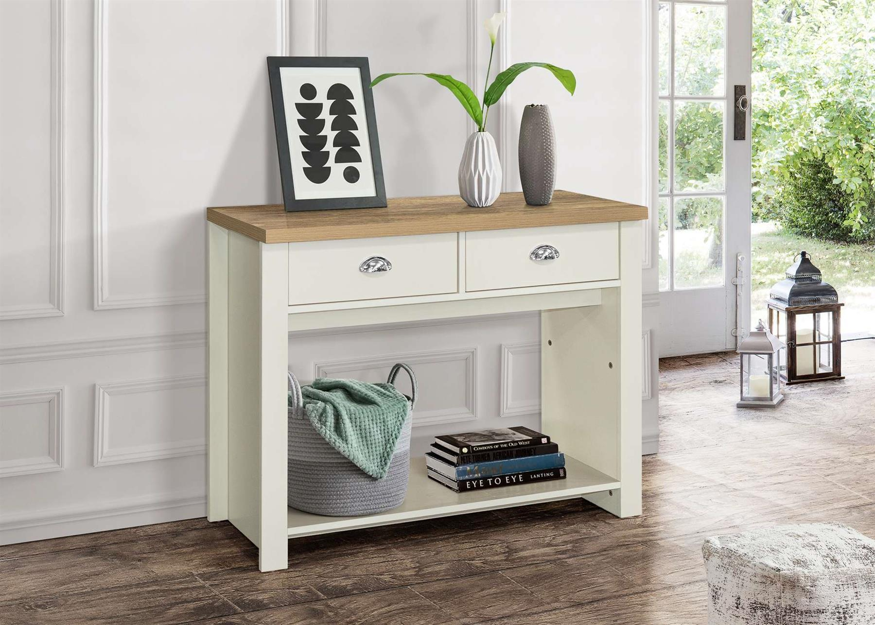 Birlea Highgate 2 Drawer Console Table Cream & Oak Farmhouse Shabby Chic