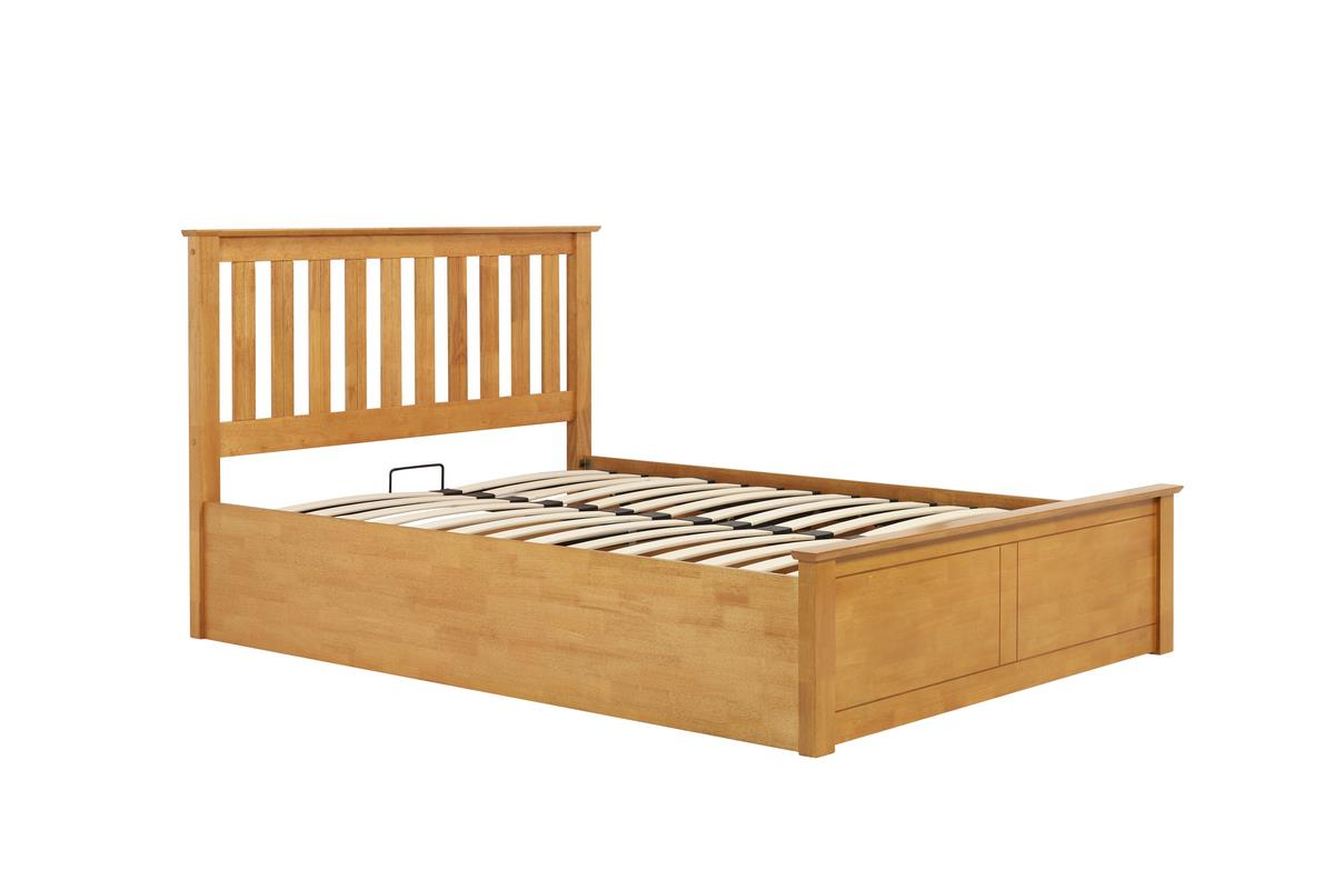 Phoenix Wood Small Double 4FT 120cm Oak Ottoman Storage Bed Frame Solid