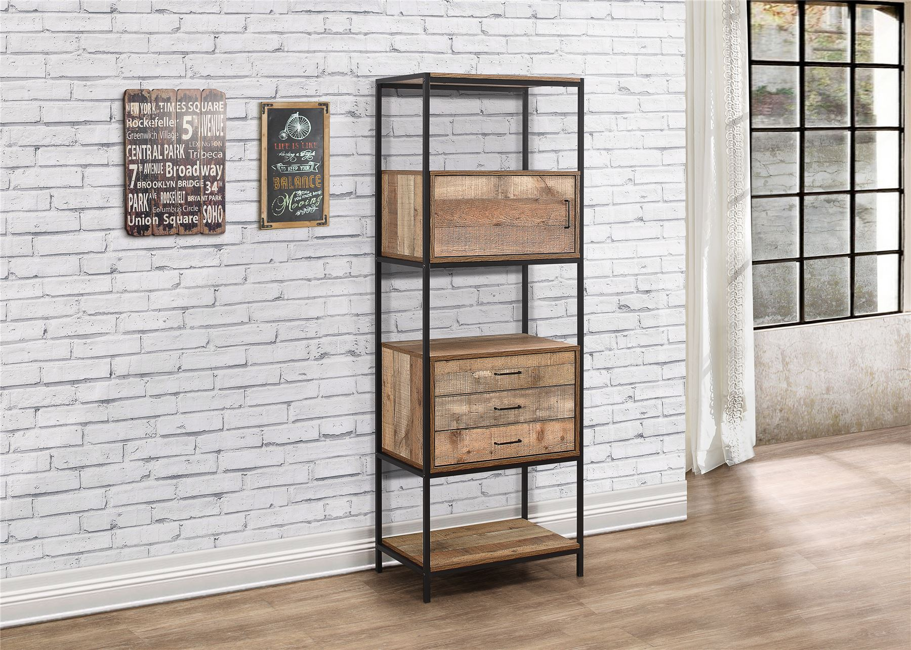 Birlea Urban Industrial Chic 3 Drawer Shelving Unit Bookcase Shelves Wood Metal