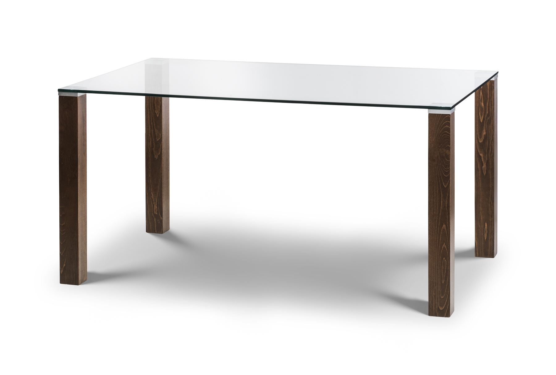 Julian Bowen Cayman Dining Table Only Glass & Solid Beech in Walnut 150cm