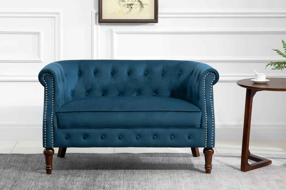 Birlea Freya 2 Seater Sofa Settee Blue Velvet Fabric Chesterfield Design