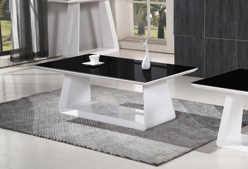 IFC Alba Coffee Table White Gloss Black Glass Rectangular Modern Design