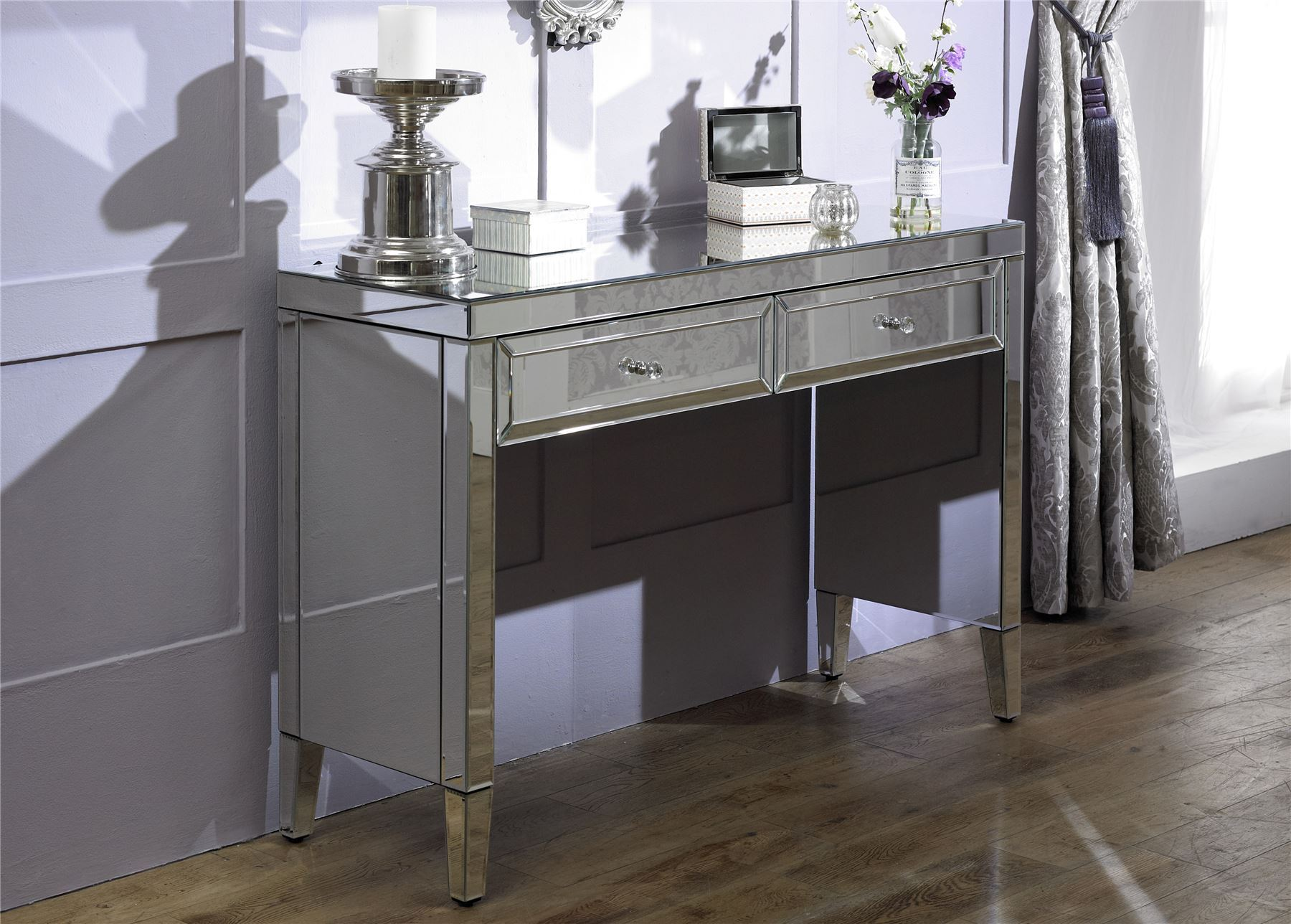 Birlea Valencia Mirrored 2 Drawer Bevelled Mirror Console Dressing Table