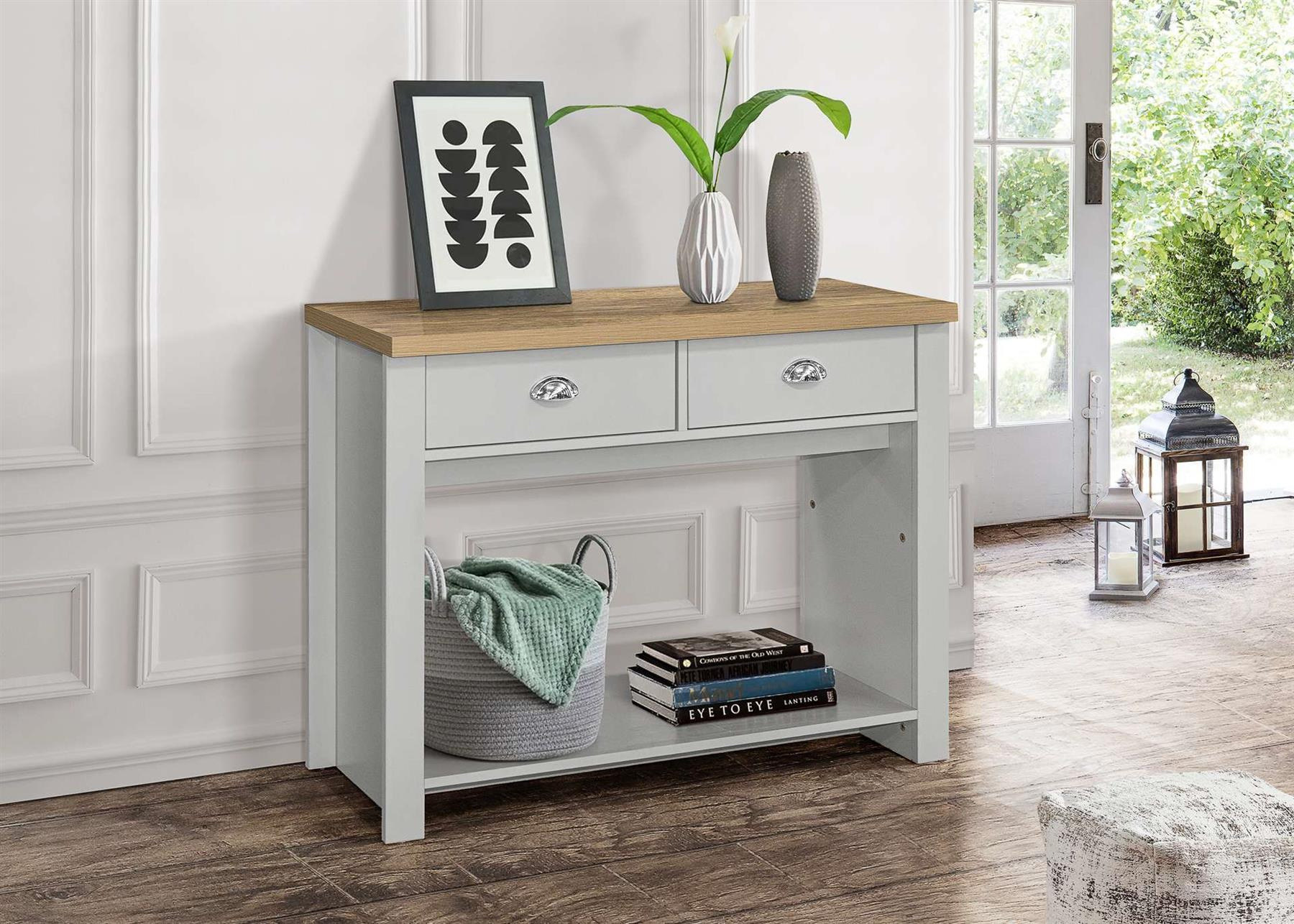Birlea Highgate 2 Drawer Console Table Grey & Oak Farmhouse Shabby Chic