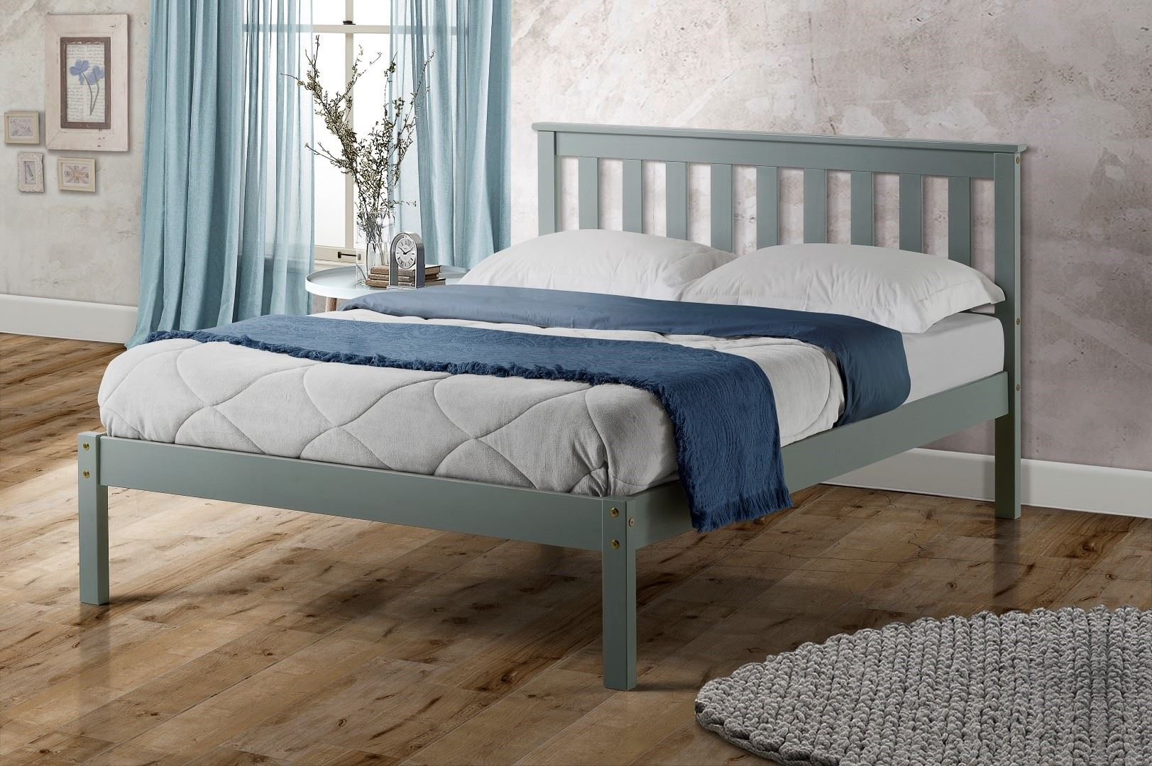 Birlea Denver Double Bed Frame Solid 135cm 4FT6 Grey Wood Shaker Style