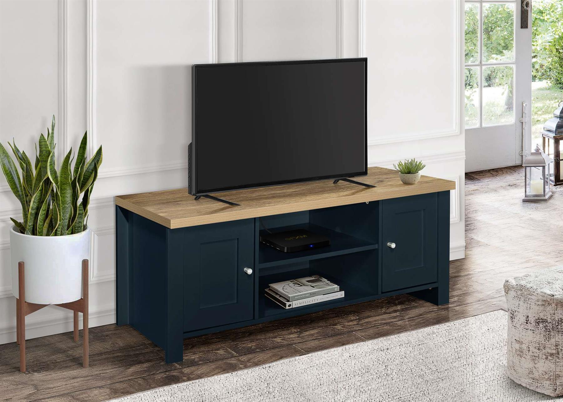 Birlea Highgate Large TV Entertainment Unit Navy Blue Oak Farmhouse Shabby Chic