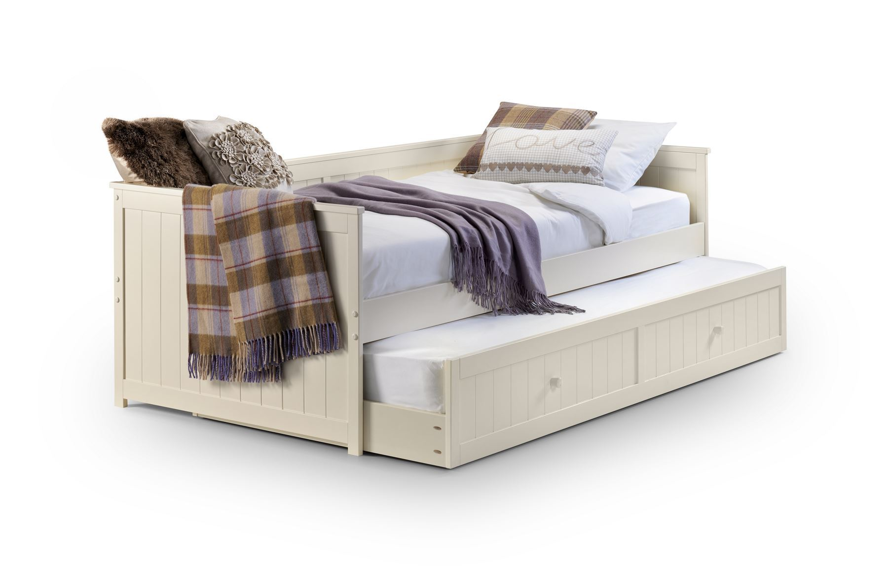 Julian Bowen Single 90CM 3FT Jessica Stone White Day Bed and Underbed Trundle
