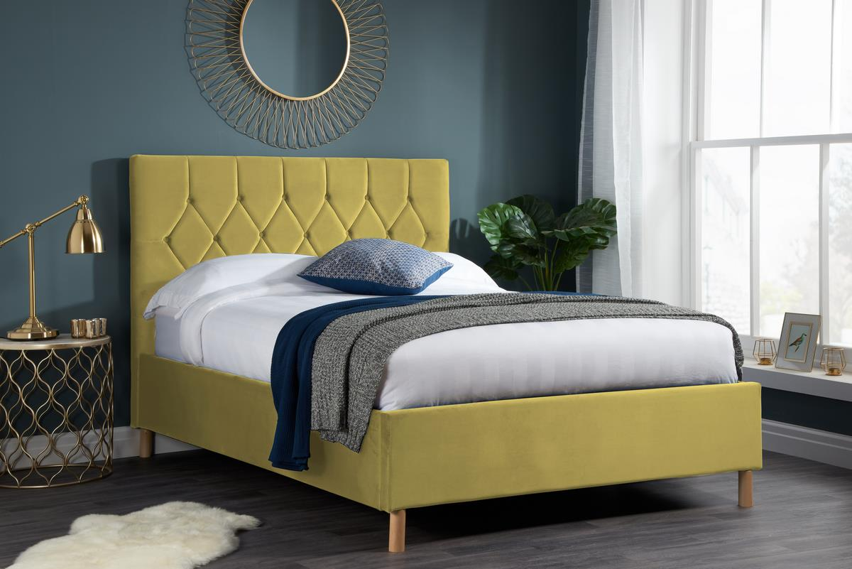 Birlea Loxley Bed Frame 150cm Kingsize 5FT Mustard Fabric Bedstead